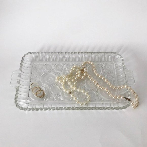 Vintage Clear Glass Tray with Circle Patterns